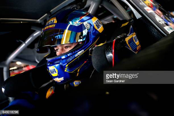 Chase Elliott driver of the NAPA Chevrolet sits in his car during practice for the 59th Annual DAYTONA 500 at Daytona International Speedway on...