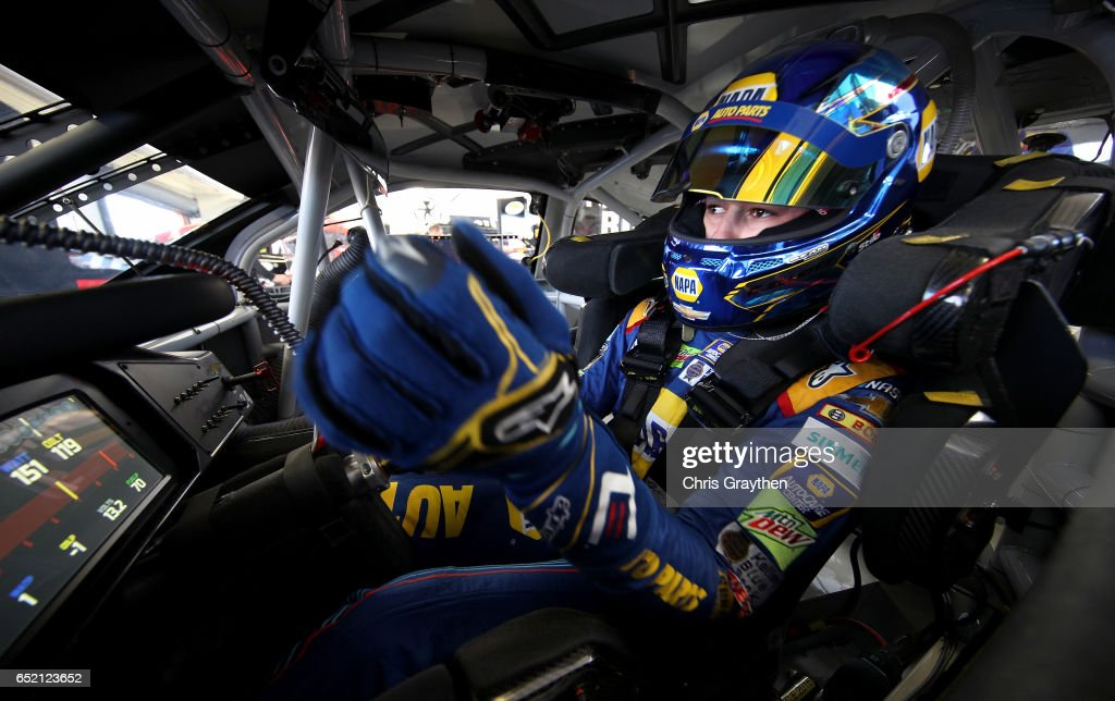 Chase Elliott, driver of the #24 NAPA Chevrolet, sits in his car during practice for the Monster Energy NASCAR Cup Series Kobalt 400 at Las Vegas Motor Speedway on March 11, 2017 in Las Vegas, Nevada.