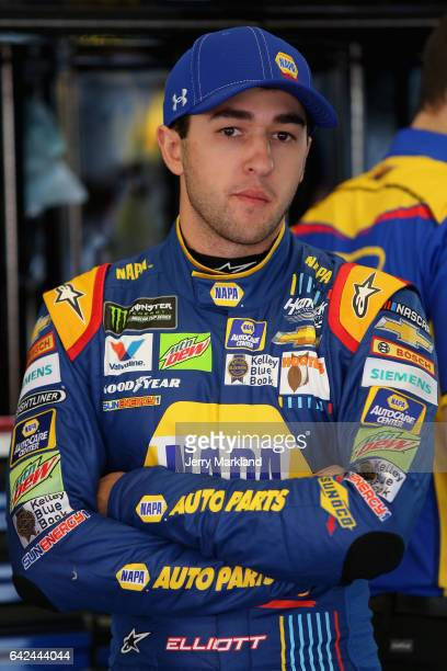 Chase Elliott driver of the NAPA Chevrolet stands in the garage during practice for the Monster Energy NASCAR Cup Series Advance Auto Parts Clash on...