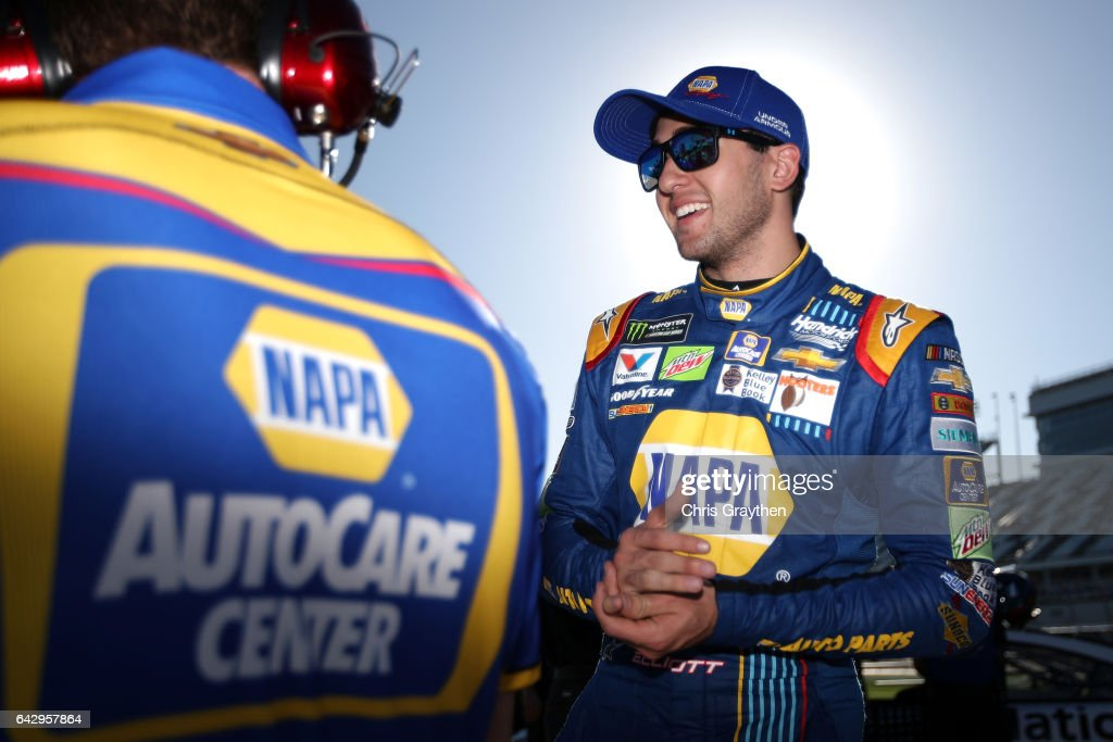 Chase Elliott, driver of the #24 NAPA Chevrolet, stands on the grid during qualifying for the Monster Energy NASCAR Cup Series 59th Annual DAYTONA 500 at Daytona International Speedway on February 19, 2017 in Daytona Beach, Florida.