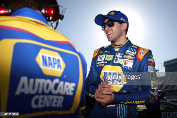 Chase Elliott driver of the NAPA Chevrolet stands on the grid during qualifying for the Monster Energy NASCAR Cup Series 59th Annual DAYTONA 500 at...