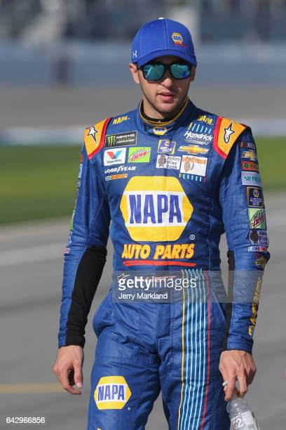 Chase Elliott driver of the NAPA Chevrolet walks on the grid during qualifying for the Monster Energy NASCAR Cup Series 59th Annual DAYTONA 500 at...