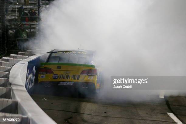 Chase Elliott driver of the NAPA Chevrolet wrecks during the Monster Energy NASCAR Cup Series First Data 500 at Martinsville Speedway on October 29...