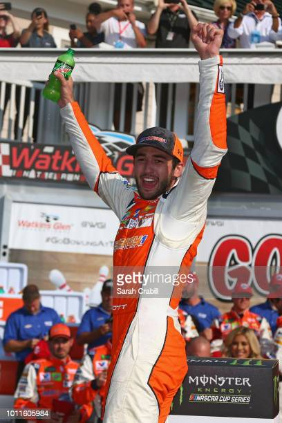 Chase Elliott driver of the SunEnergy1 Chevrolet celebrates in Victory Lane after winning the Monster Energy NASCAR Cup Series GoBowling at The Glen...