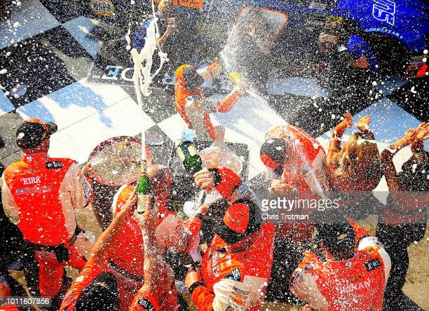 Chase Elliott driver of the SunEnergy1 Chevrolet celebrates in Victory Lane after winning during the Monster Energy NASCAR Cup Series GoBowling at...