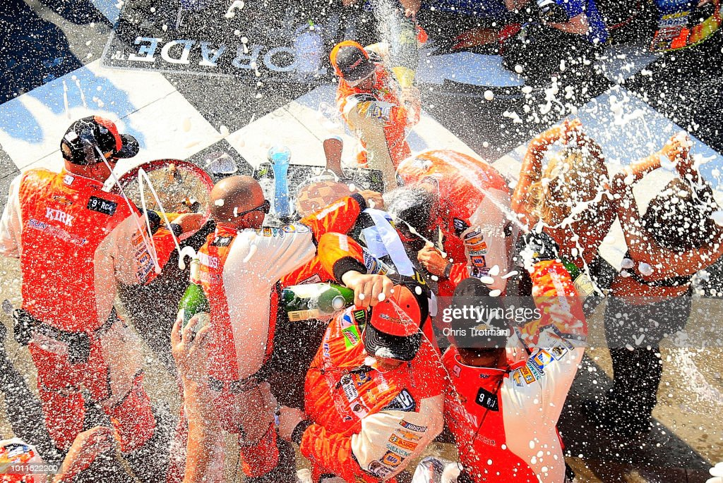 Chase Elliott, driver of the #9 SunEnergy1 Chevrolet, celebrates in Victory Lane after winning during the Monster Energy NASCAR Cup Series GoBowling at The Glen at Watkins Glen International on August 5, 2018 in Watkins Glen, New York.