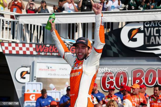 Chase Elliott, driver of the SunEnergy1 Chevrolet, celebrates in Victory Lane after winning the Monster Energy NASCAR Cup Series GoBowling at The...
