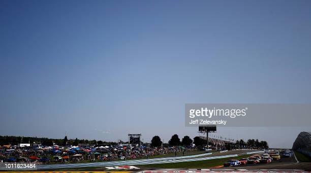 Chase Elliott driver of the SunEnergy1 Chevrolet races during the Monster Energy NASCAR Cup Series GoBowling at The Glen at Watkins Glen...