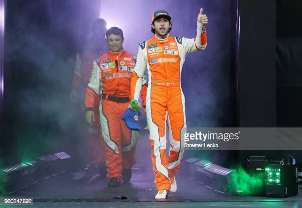 Chase Elliott driver of the SunEnergy1 Chevrolet waves to the crowd during the prerace ceremonies for the Monster Energy NASCAR Cup Series AllStar...