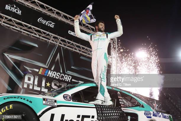 Chase Elliott driver of the UniFirst Chevrolet celebrates in Victory Lane after winning the NASCAR Cup Series AllStar Race at Bristol Motor Speedway...