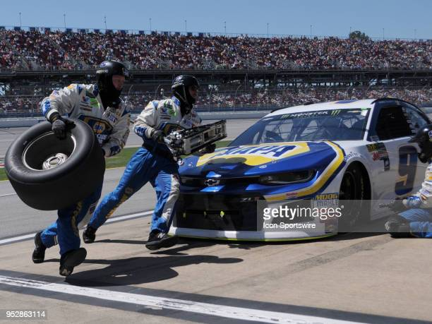 Chase Elliott Hendrick Motorsports Chevrolet Camaro NAPA Auto Parts during a pit stop in the Monster Energy Cup Series 49th Annual Geico 500 on April...