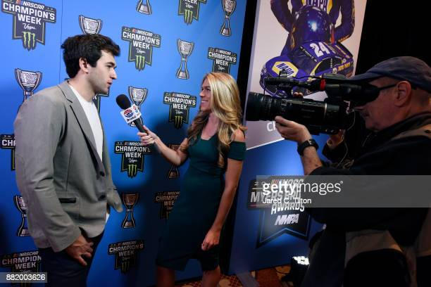 Chase Elliott speaks with the media following the NASCAR NMPA Myers Brothers Awards at the Encore Theater at Wynn Las Vegas on November 29 2017 in...