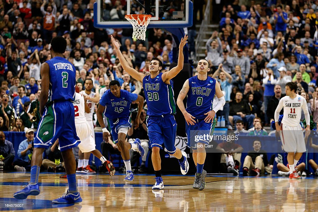Chase Fieler #20 and Brett Comer #0 of the Florida Gulf Coast Eagles celebrate in the second half while taking on the San Diego State Aztecs during the third round of the 2013 NCAA Men's Basketball Tournament at Wells Fargo Center on March 24, 2013 in Philadelphia, Pennsylvania.