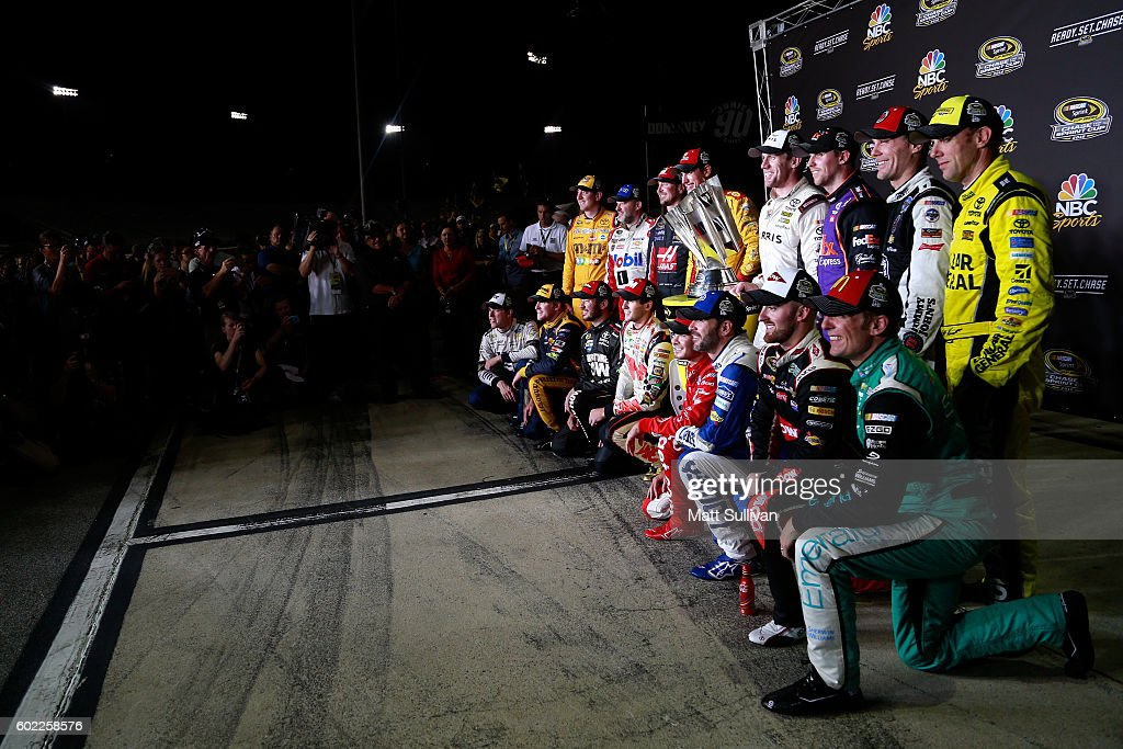 Chase for the Sprint Cup drivers pose for a photo after the NASCAR Sprint Cup Series Federated Auto Parts 400 at Richmond International Raceway on September 10, 2016 in Richmond, Virginia.