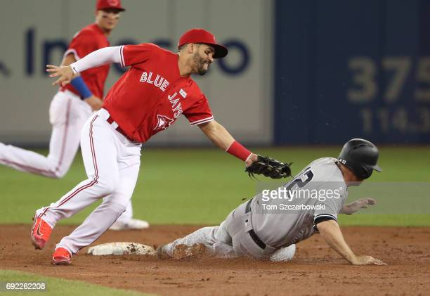 Chase Headley of the New York Yankees steals second base in the third inning during MLB game action as Devon Travis of the Toronto Blue Jays tries to...
