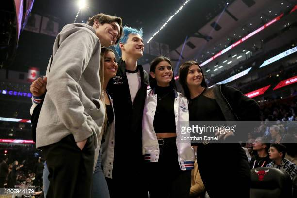 Chase Hudson Addison Rae Tyler Ninja Blevins Dixie D'Amelio and Charli D'Amelio pose for photos while attending the 2020 NBA AllStar ATT Slam Dunk...