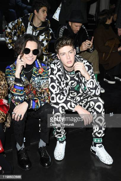 Chase Hudson and Blake Gray are seen at Dolce Gabbana Front Row during Milan Men's Fashion Week Fall/Winter 2020/2021 on January 11 2020 in Milan...
