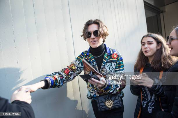 Chase Hudson arrives at Dolce e Gabbana fashion show during the Milan Fashion Week 2020 in Milan Italy on January 11 2020