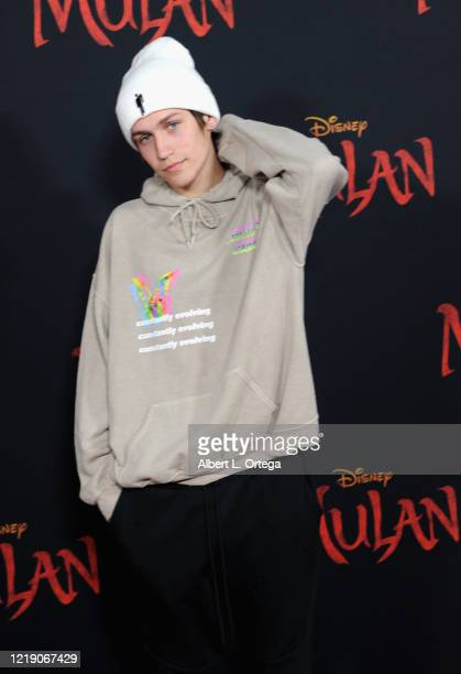 Chase Hudson arrives for the Premiere Of Disney's Mulan held at Dolby Theatre on March 9 2020 in Hollywood California