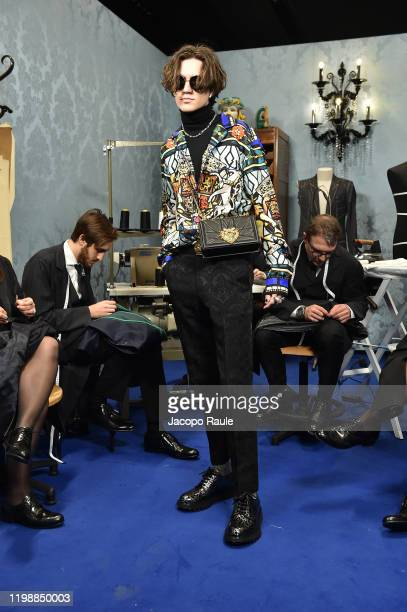 Chase Hudson attends the runway at the Dolce Gabbana fashion show on January 11 2020 in Milan Italy