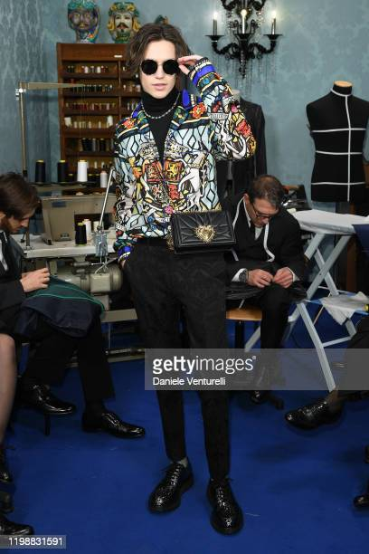 Chase Hudson is seen at Dolce Gabbana Front Row during Milan Men's Fashion Week Fall/Winter 2020/2021 on January 11 2020 in Milan Italy