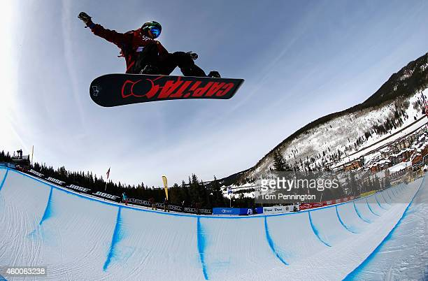 Chase Josey competes in the final round of the FIS Freestyle Snowboard World Cup 2015 men's snowboard halfpipe during the USSA Grand Prix on December...