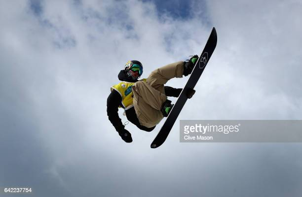 Chase Josey of USA competes in the FIS Freestyle World Cup Snowboard Halfpipe Qualification at Bokwang Snow Park on February 17 2017 in...
