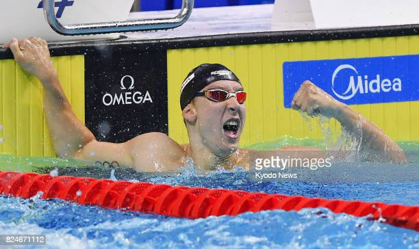 Chase Kalisz of the United States celebrates after winning the men's 400meter individual medley at the world swimming championships in Budapest on...
