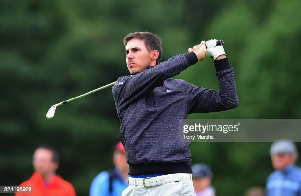 Chase Koepka of the United States plays his first shot on the 2nd tee during the Porsche European Open Day Three at Green Eagle Golf Course on July...
