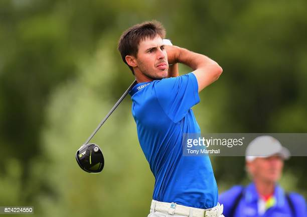 Chase Koepka of the United States plays his first shot on the 9th tee during the Porsche European Open Day Three at Green Eagle Golf Course on July...