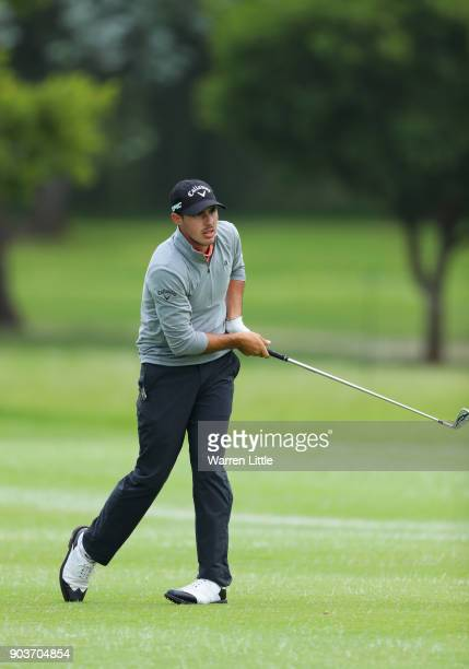 Chase Koepka of the United States plays his second shot on the 18th hole during Day One of The BMW South African Open Championship at Glendower Golf...