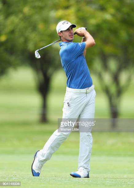 Chase Koepka of the United States plays his second shot on the 18th hole during day two of the BMW South African Open Championship at Glendower Golf...