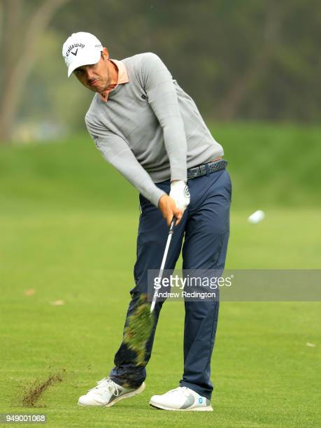 Chase Koepka of the United States plays his second shot on the 18th hole during the second round of the Trophee Hassan II at Royal Golf Dar Es Salam...