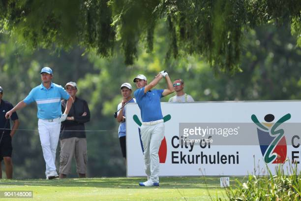 Chase Koepka of the United States tees off on the 18th hole during day two of the BMW South African Open Championship at Glendower Golf Club on...
