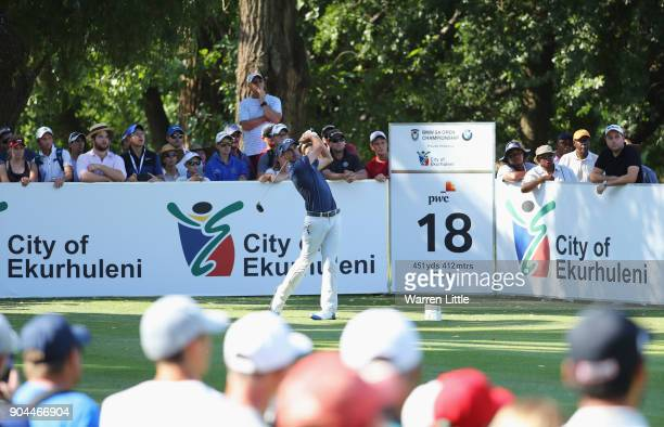 Chase Koepka of the United States tees off on the 18th hole during day three of the BMW South African Open Championship at Glendower Golf Club on...