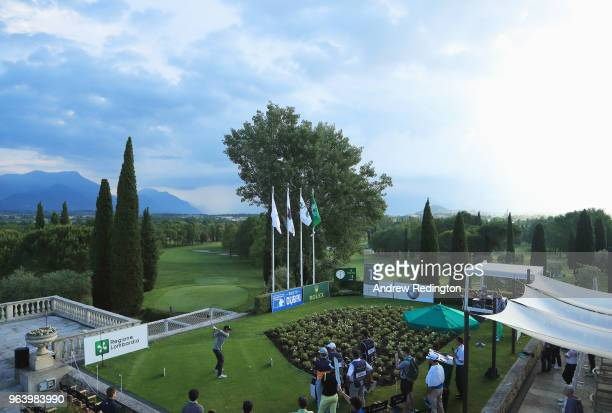 Chase Koepka of the United States tees off on the 1st hole during day one of the Italian Open at Gardagolf CC on May 31 2018 in Brescia Italy