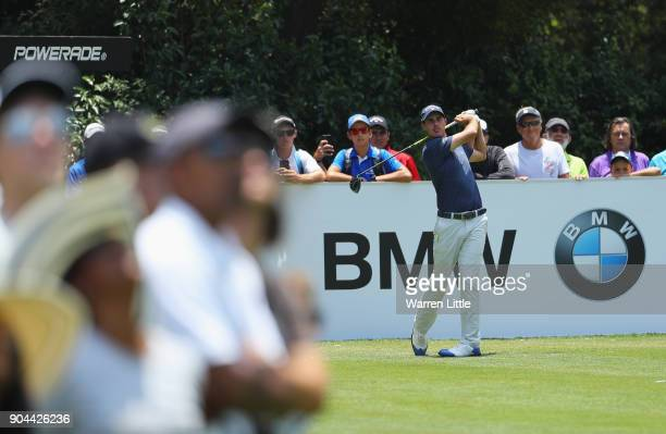Chase Koepka of the United States tees off on the 4th hole during day three of the BMW South African Open Championship at Glendower Golf Club on...
