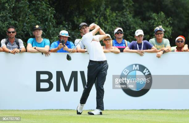 Chase Koepka of the United States tees off on the 4th hole during day four of the BMW South African Open Championship at Glendower Golf Club on...