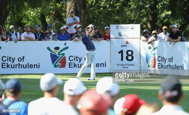 Chase Koepka of the USA tees off on the 18th hole during the third round of the BMW South African Open Championship at Glendower Golf Club on January...