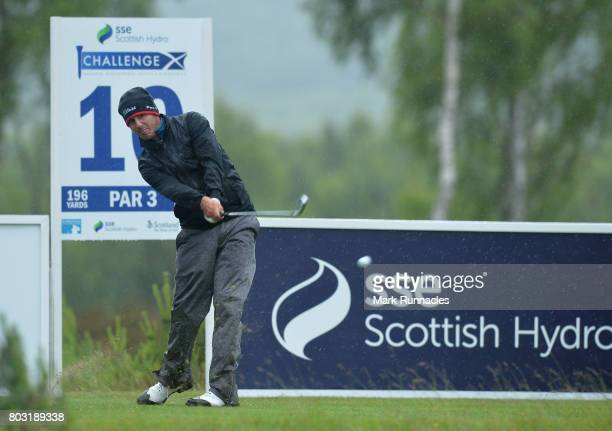 Chase Koepka of USA plays his tee shot at the 10th hole during the first day of the 2017 SSE Scottish Hydro Challenge hosted by MacDonald Hotels and...