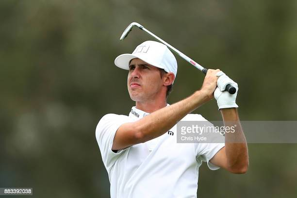 Chase Koepka plays his second shot during day two of the Australian PGA Championship at Royal Pines Resort on December 1 2017 in Gold Coast Australia