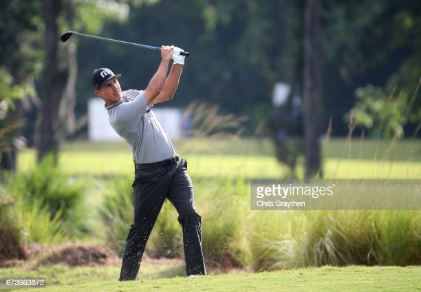 Chase Koepka plays his second shot on the 11th hole during the first round of the Zurich Classic at TPC Louisiana on April 27 2017 in Avondale...
