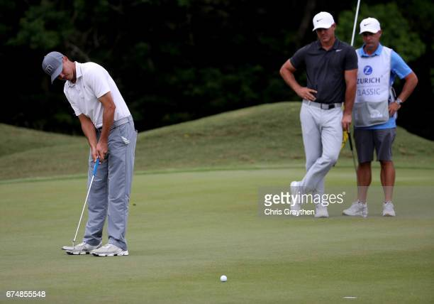Chase Koepka putts during the third round of the Zurich Classic at TPC Louisiana on April 29 2017 in Avondale Louisiana