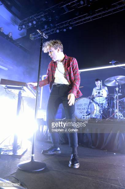 Chase Lawrence and Ryan Winnen of the band COIN performs at Mercury Ballroom on February 23, 2018 in Louisville, Kentucky.