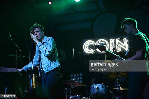 Chase Lawrence, Ryan Winnen and Zach Dyke of COIN performs during An Intimate Night Out at Revolution Live on July 9, 2015 in Fort Lauderdale,...