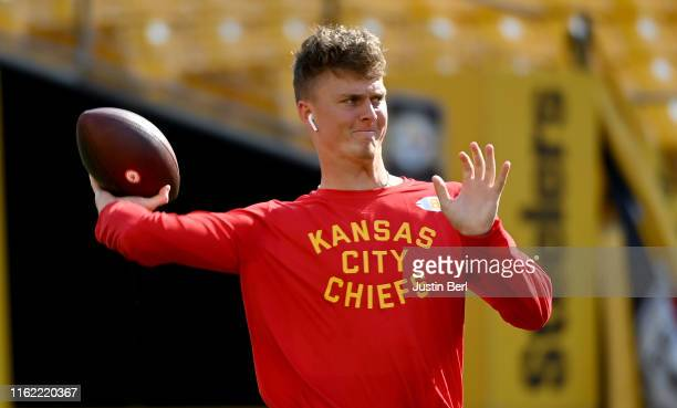 Chase Litton of the Kansas City Chiefs warms up before a preseason game against the Pittsburgh Steelers at Heinz Field on August 17 2019 in...