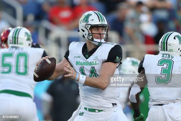 Chase Litton of the Marshall Thundering Herd throws the ball against the Florida Atlantic Owls at FAU Stadium on November 3 2017 in Boca Raton...