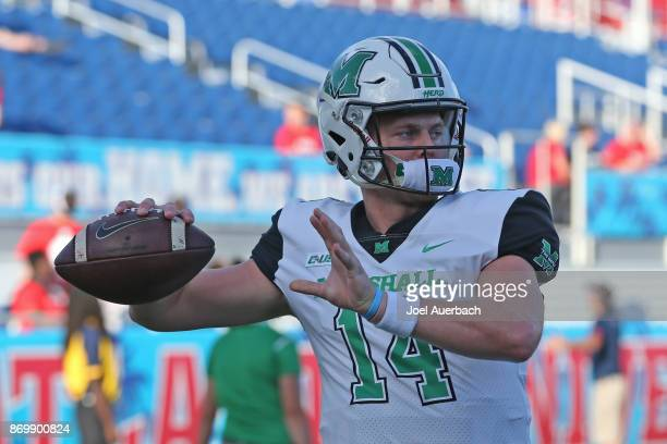 Chase Litton of the Marshall Thundering Herd throws the ball prior to the game against the Florida Atlantic Owls at FAU Stadium on November 3 2017 in...
