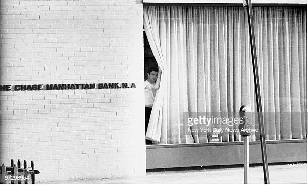 Chase Manhattan Bank 450 Avenue P East 3rd St Brooklyn Bank robber John Wojtowicz looks outside of bank window
