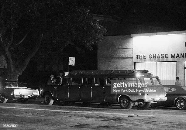 Chase Manhattan Bank robbery holdup Airport bus is loaded outside the bank and ready to roll to the airport with John Wojtowicz the robber and seven...